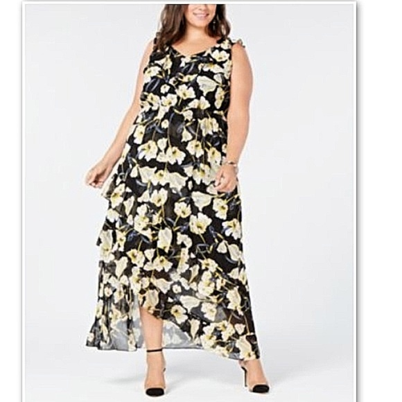 INC Macy\'s Plus Floral Black Hi Lo Maxi Dress NWT